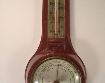 Vintage Airguide Barometer-Thermometer Small Banjo Style Wall Hanging Weather Meteorology Station