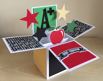 Special/Best Teacher, pop up greeting card, card in a box.