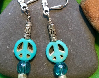 Turquoise Peace  Sign Earrings ****