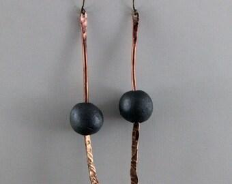 Handmade Hammered Bronze And Raku Green Beaded Earrings
