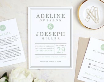 Instant printable wedding invitation template ivory printable wedding invitation template mint type word or pages mac or pc stopboris Gallery