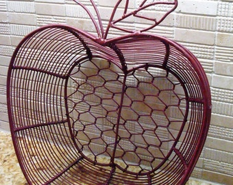 Vintage Apple Shaped Red Wire Basket - Fantastic Condition!!