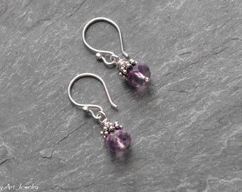 Fluorite sterling silver dangle earrings