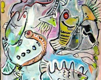 "fish painting Large Original Painting pink blue green yellow fish painting, fish art, fish, sjkim, 46""x17.5"", modern fish art, seascape"