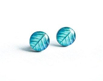 Turquoise leaf earrings studs, botanical jewelry, leaf stud earrings