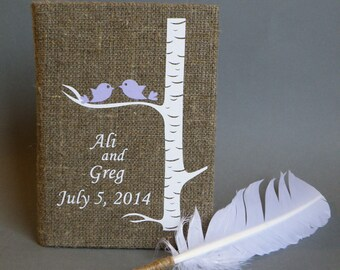 Wedding guest book Linen Wedding guest book Personalized Light purple birds on white birch tree and white Feather Wedding pen