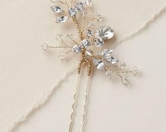Gold Swarovski Crystal Bridal Hair Pin, Gold Wedding Hair Pin, Gold Bridal Hair Accessory, Hair Pins for Wedding, Bridal Hair Piece - 7091