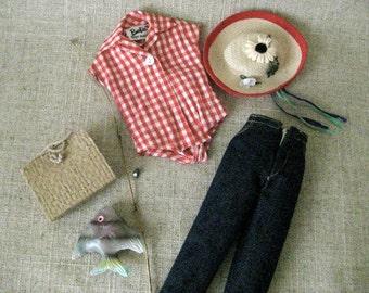Vintage Barbie -  Picnic Set Outfit - 967 1959 - Barbie Clothes - Fishing Outfit - Vintage Doll Clothes - Barbie Picnic Set - Barbie Jeans