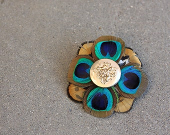 Peacock and Pheasant Feather Hair Clip with Antique Button