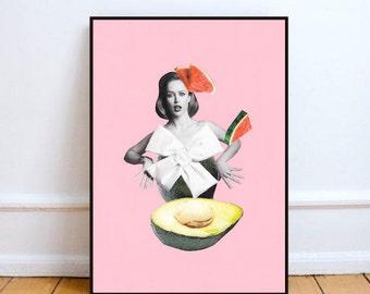 "Avocado art, minimalist art, paper collage art, surreal collage art, avocado print, mixed media collage art, food art - ""Roly-Poly Avocado""."