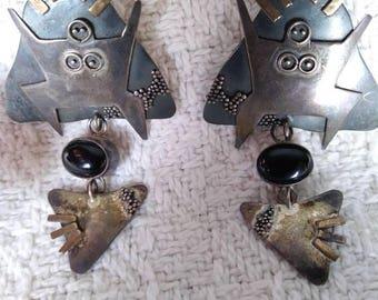 Vintage Sterling Post Earrings Wild Woman Goddess Earrings Handmade 925 Sterling Silver Gold Jewelry Black Onyx Stone Hippie Gypsy Jewelry