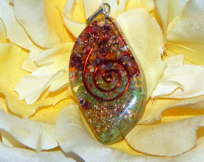 ABUNDANCE Orgone pendant - Handcrafted gemstone Reiki Crystal Necklace - Mookaite Jasper Amazonite