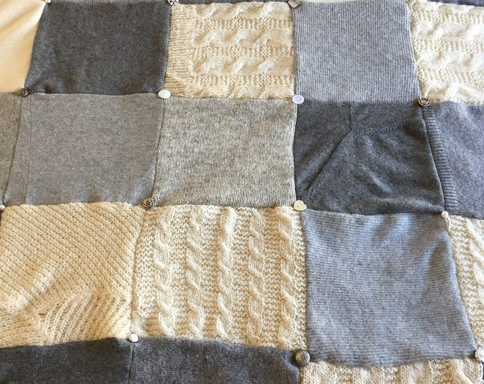 "My ""Opulent Gray"" Wool Sweater Quilt — I can make one similar for you!"