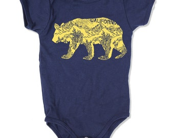 Baby One-Piece California BEAR Eco screen printed (+ Color Options) - FREE Shipping
