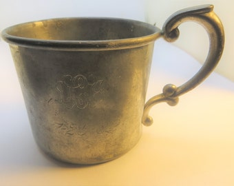 Antique Vintage 1882 Empire Pewter 892 Engraved Child's Baby Cup July 25 1882