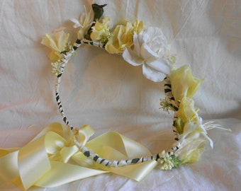Lemon and Cream Childs Flower Crown with Lemon Ribbon Trail