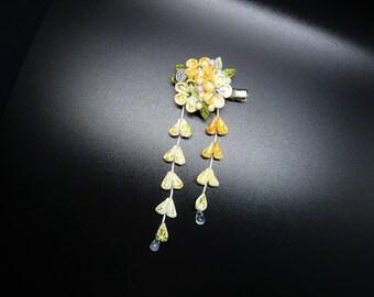 TSUMAMI KANZASHI Chirimen hair clip (yellow)
