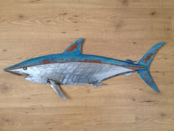 Shark Metal 36in Fish Wall sculpture  Beach Coastal Tropical