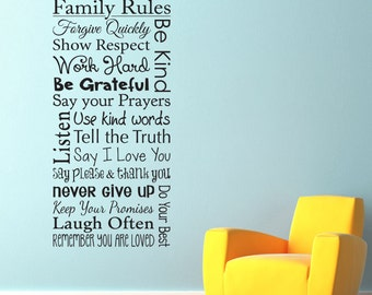 Family Rules Wall Decal - Show Respect - Use Kind Words - Never Give Up - Do your Best - Family Decal - Vertical Large