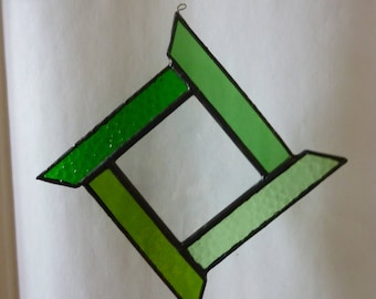 Stained glass square ornament