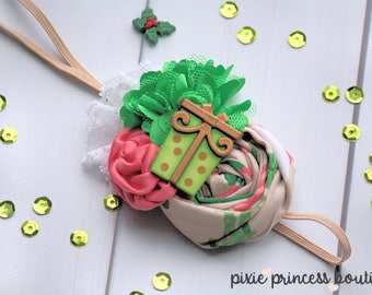 Tidings and Joy - Headband, Baby Headband, Photography Prop, Couture Headband, Hair Clip, Christmas Headband, Holiday Headband, Present, Elf