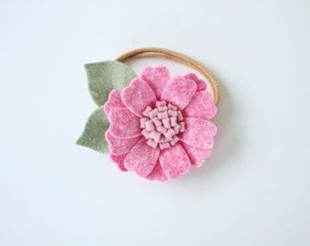 THE PIPER felt flower headband in English Rose