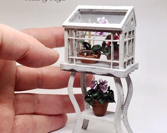 Scale 1:12 Greenhouse. Dollhouse miniature greenhouse. Greenhouse on stand.