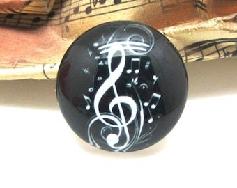 2 cabochons glass music black 20 mm - 20 mm
