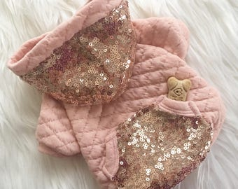 Dog hoodie, dog shirt, puppy sweater, dog sweater, Dog dress, dog clothes, puppy clothes, rose gold hoodie