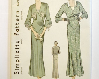 Pristine Uncut Original 1930s Dress Sewing Pattern Simplicity 1429 Bust 36