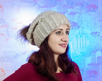 Hat with pom pom - Hand knitten hats - a cap of manual binding - winter hat - beige hat - hat for women- hat with pom pom for women
