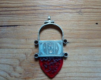 """Old Tuareg silver pendant says """"In gall""""-Niger"""