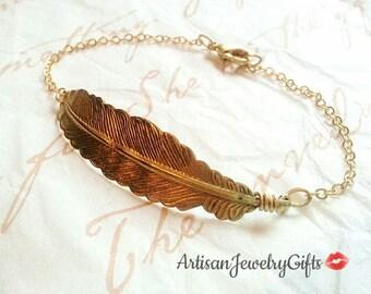 Gold Feather Bracelet Gold Feather Cuff Bracelet Bohemian Bracelet Woodland Bracelet Bridesmaid Bracelet Woodland Wedding Feather Bracelet
