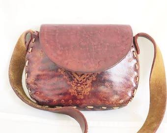 Vintage 70's Tooled Leather Hippie Purse