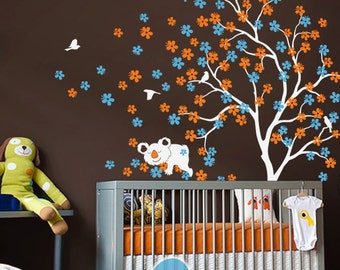 """Baby Nursery Wall Decals - Large blossom Tree Wall Decal - Koala Decal Wall Art Sticker Mural - Large: approx 85"""" x 76"""" - KC013"""