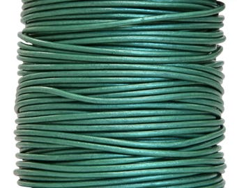 Round Leather Cord 1.5 mm Diameter Truly Teal Color 50 Meter Spool