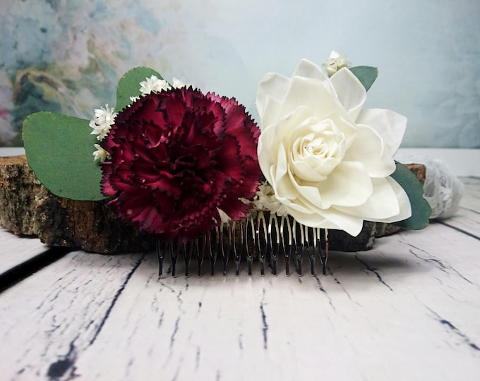 Stabilized eucalyptus burgundy ivory hair comb sola flowers boho wedding Bridal hairpiece greenery accessory maroon wine