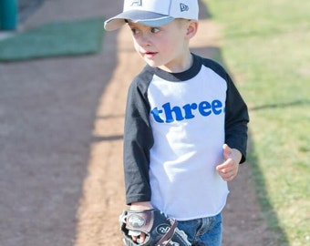 THIRD BIRTHDAY shirt , 3rd birthday - Kid's personalized NUMBER raglan baseball shirt - three, third - you choose colors - long sleeve