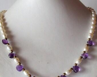Garnet Necklace  - Granatkette - Granat Kette - Sterling Silver - vermeil - vintage