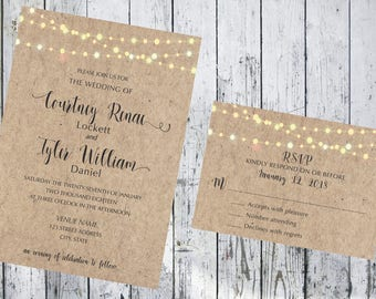 Kraft Paper with String Lights Wedding Invitation and Respond Card
