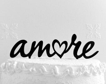 Amore Cake Topper - Custom Wedding Cake Topper, Romantic Wedding Cake Decoration, Love Cake Topper, Traditional Wedding Cake Topper