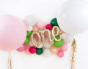 """40"""" White Gold One Script Balloon / First Birthday Party / Birthday Decor Photo Prop / 1st Birthday Balloon / Giant Balloon with Tassels"""