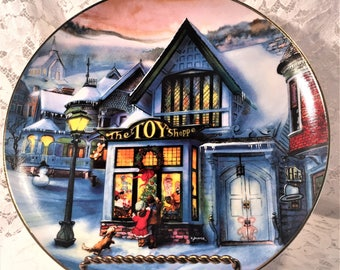 "The Toy Shoppe by Artist Rob Sauber, 1993 Decorative Plate in the ""Old Fashioned Christmas"" series by Artaffects, Victorian Yuletide."