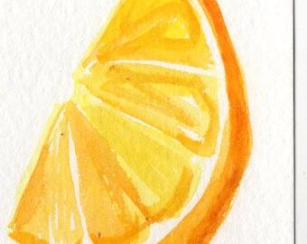 Original  Lemon Wedge Watercolor Painting ACEO