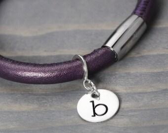 Purple Leather Bracelet, Charm Bracelet, Leather Wrap Bracelet, Handstamped Jewelry, Handstamped Bracelet, Hand Stamped