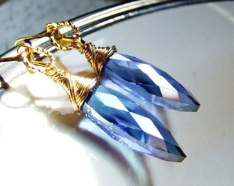 Vintage gold wire wrapped crystal earrings, light sapphire blue, long crystal, elegant, bridal gift, wedding jewelry, something blue