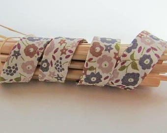 1 m bias fabric liberty - mauve, beige tone - 12 mm cotton