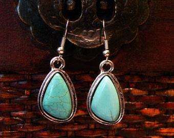 Simple turquoise earrings