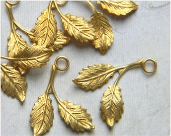 Raw Brass Leaf, Brass Leaves, Leaf Charm, Wedding Headpiece Supply, Leaf Drop, Leaf Stamping, 16mm x 21mm - 12 pcs. (r144)