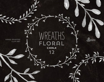 Chalk Floral Wreaths. 12 digital Clipart in 3 colors. Handpainted, laurel wreath, flowers, invitations, gray, branch, doodle frames